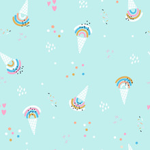 Seamless Summer Pattern With Ice Cream Rainbows. Creative Childish Background. Perfect For Kids Apparel,fabric, Textile, Nursery Decoration,wrapping Paper.Vector Illustration