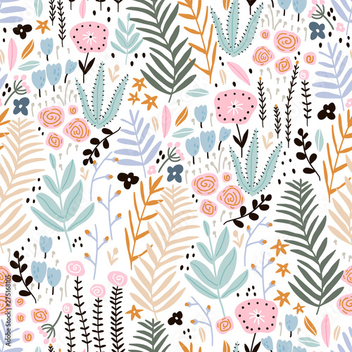Türaufkleber Künstlich Seamless pattern with flowers, branch, leaves. Creative floral texture. Great for fabric, textile Vector Illustration