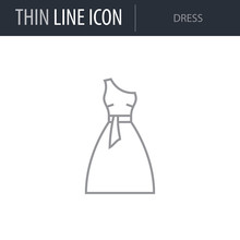 Symbol Of Dress. Thin Line Icon Of Fashion. Stroke Pictogram Graphic For Web Design. Quality Outline Vector Symbol Concept. Premium Mono Linear Beautiful Plain Laconic