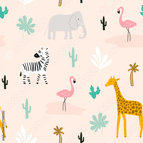Poster Artificiel Seamless childish pattern with african animals. Creative scandinavian kids texture for fabric, wrapping, textile, wallpaper, apparel. Vector illustration