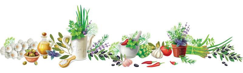 Still life with garden herb...