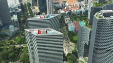 Sunny Day Singapore City Famous Downtown Buildings Park Aerial Panorama 4k