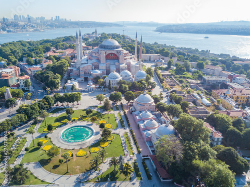 Obraz na plátně Hagia Sophia in Istanbul, aerial view