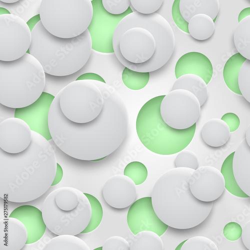 abstrakcjonistyczny-bezszwowy-wzor-dziury-i-okregi-z-cieniami-w-bialych-kolorach-na-zielonym-tle