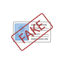 Illustration Of Fake Stamp Over Id Card