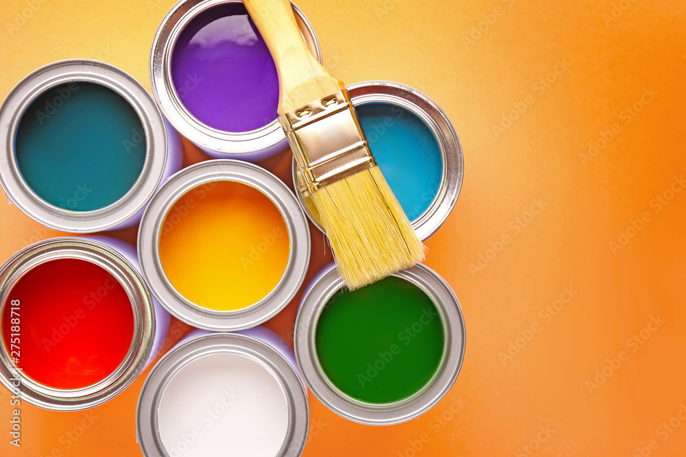 Fototapety, obrazy: Cans of paints and brush on color background