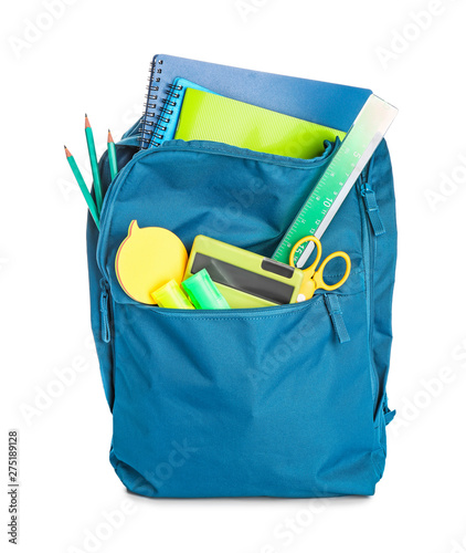 School backpack with stationery on white background - 275189128