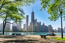 Chicago Skyline Framed By Trees At Milton Lee Olive Park With Benches