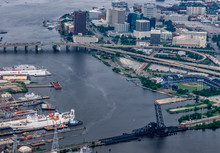 Norfolk Virginia Aerial Of City Skyline And Surroundings