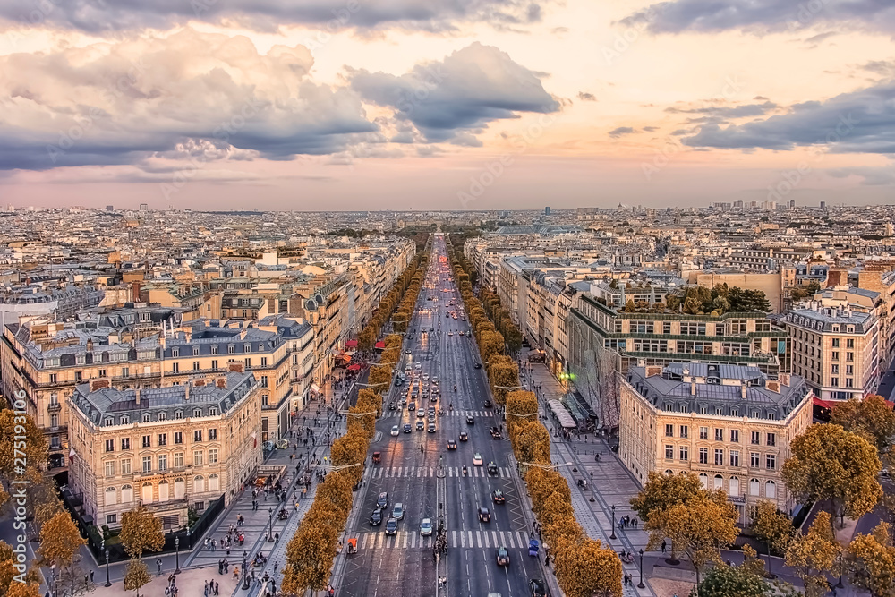 Fototapety, obrazy: Champs-Elysees avenue in Paris at sunset