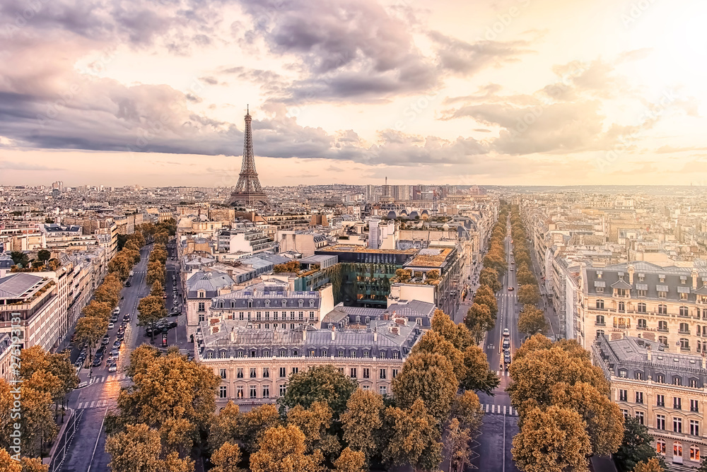 Fototapety, obrazy: Paris city with Eiffel Tower viewed from the Arc De Triomphe