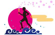日本で開催される国際スポーツ大会の聖火ランナー。