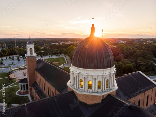 Aerial View of Cathedral in Raleigh, North Carolina at Sunset Canvas Print