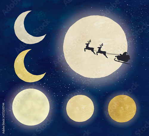 Obraz 油彩風月いろいろと夜空とサンタクロース - fototapety do salonu