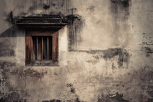 Old Chinese Vintage Window With Grunge Wall.