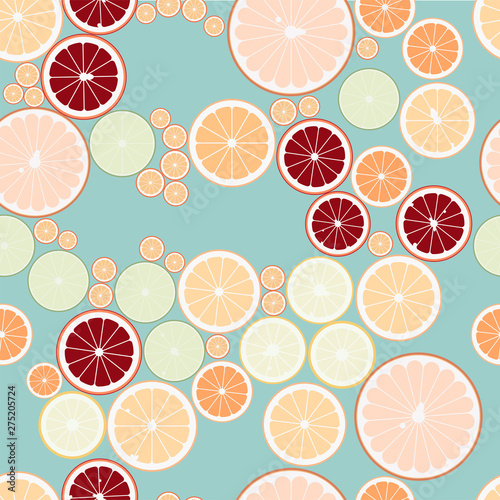 Photo Citrus Fruit Asymmetric Repeat Background Pattern