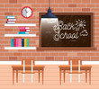 blackboard with desks and books with clock in the classroom
