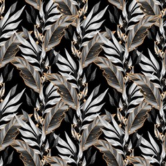 FototapetaSeamless pattern with leaves. Background for wrapping paper, wall art design