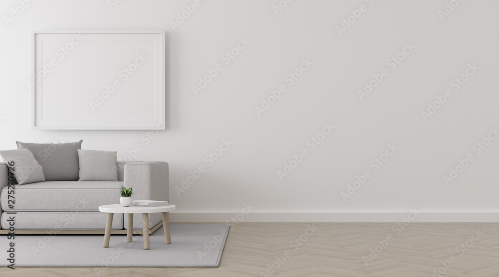 Fototapety, obrazy: View of living room space with white sofa set and picture frame on white wall and bright laminate floor.Perspective of minimal Interior design. 3d rendering.