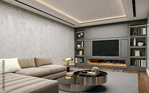 Photo Modern interior design of living room in basement, angled close up view of tv wa