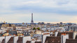 Aerial view of Paris city and Eiffel tower. France. April 2019