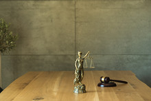Lawyers Office Concept On Rustic Wooden Table.