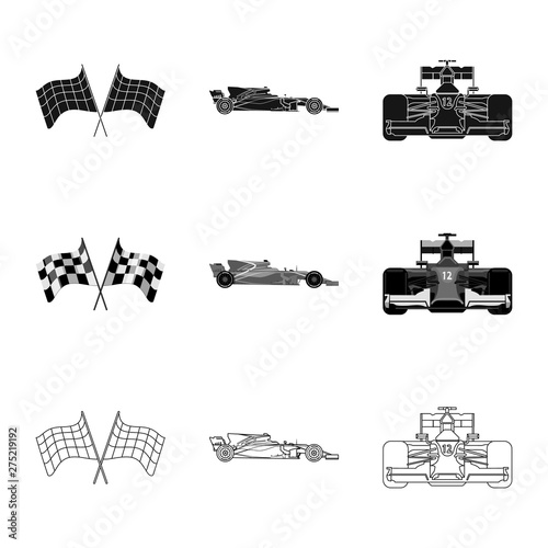 Photo sur Toile F1 Vector illustration of car and rally sign. Collection of car and race vector icon for stock.