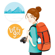 Female Backpacker Traveller With Baggage And Camera For Travel