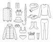 Clothes And Necessities For Winter Season Travel Trip Outline