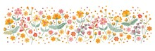 Horizontal Pattern With Embroidered Wild Flowers On White Background. Panoramic View Of Floral Meadow.