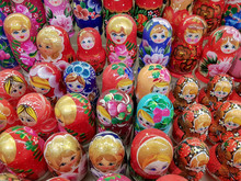 MOSCOW, RUSSIA - DECEMBER 30, 2019:A Variety Of Russian Souvenirs With Different Images, Are Sold In The Shops On The Street Old Arbat In Moscow City.