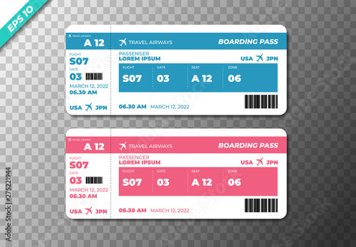 Set of the airline boarding pass tickets Wallpaper Mural