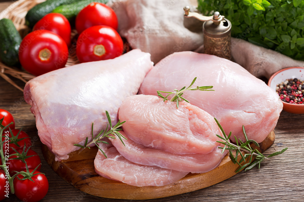 Fototapety, obrazy: fresh turkey meat with ingredients for cooking