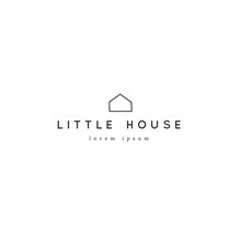 Vector Hand Drawn Logo Template With A Minimal House Silhouette. Property Rental Theme.