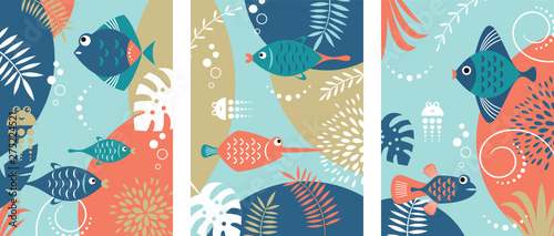 Photo  Collection of abstract background designs with tropical fishes