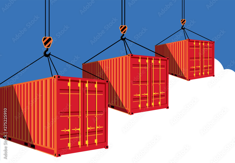 Fototapety, obrazy: Shipping container on blue sky