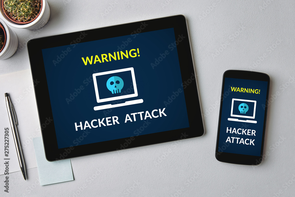 Fototapeta Hacker attack concept on tablet and smartphone screen