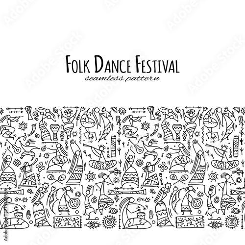 Fototapety, obrazy: Folk ethnic dance, seamless pattern for your design