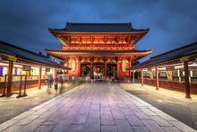Tokyo - May 20, 2019: Night Shot Of The Sensoji Temple In Asakusa, Tokyo, Japan