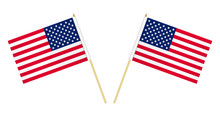 Two US Flags Isolated On White...