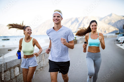 Happy People Jogging Outdoor Running Sport Exercising And