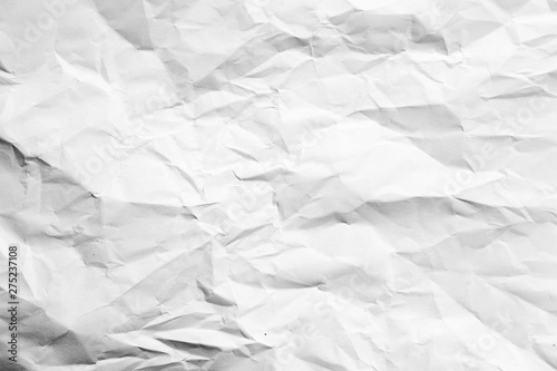 White crumpled paper abstract art background. Wrinkled texture effect. Copy space. - 275237108