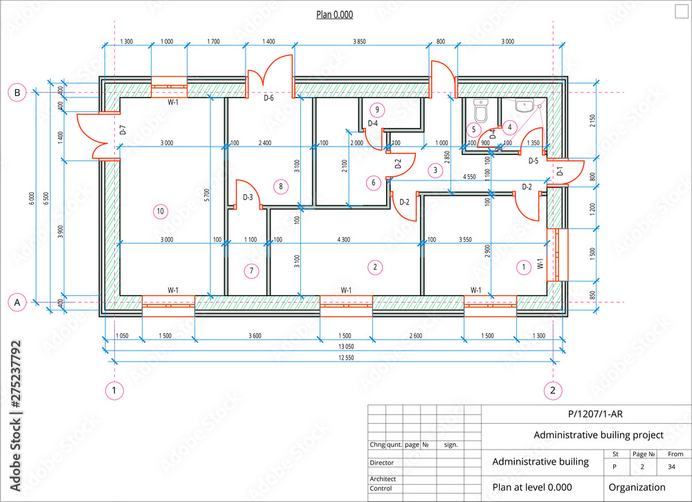 Fototapeta Architectural plan of the administrative building. Color version with place for text and copy space.
