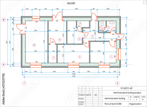 Photo Architectural plan of the administrative building
