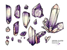 Hand Drawn Crystal Cluster. Ve...