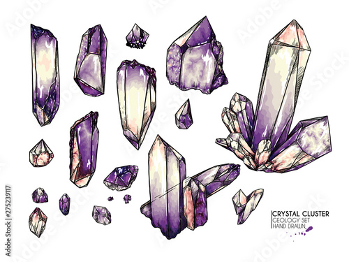 Hand drawn crystal cluster Wallpaper Mural