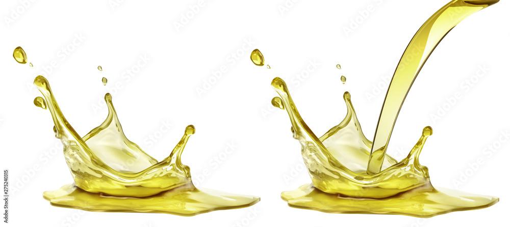 Fototapety, obrazy: Olive or engine oil splash, cosmetic serum liquid isolated on white background. 3d illustration