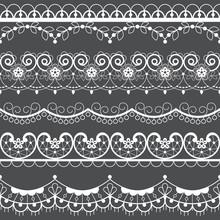 Retro Lace Seamless Pattern Set, White Decoration, Ornamental Repetitive Design With Flowers - Textile Design