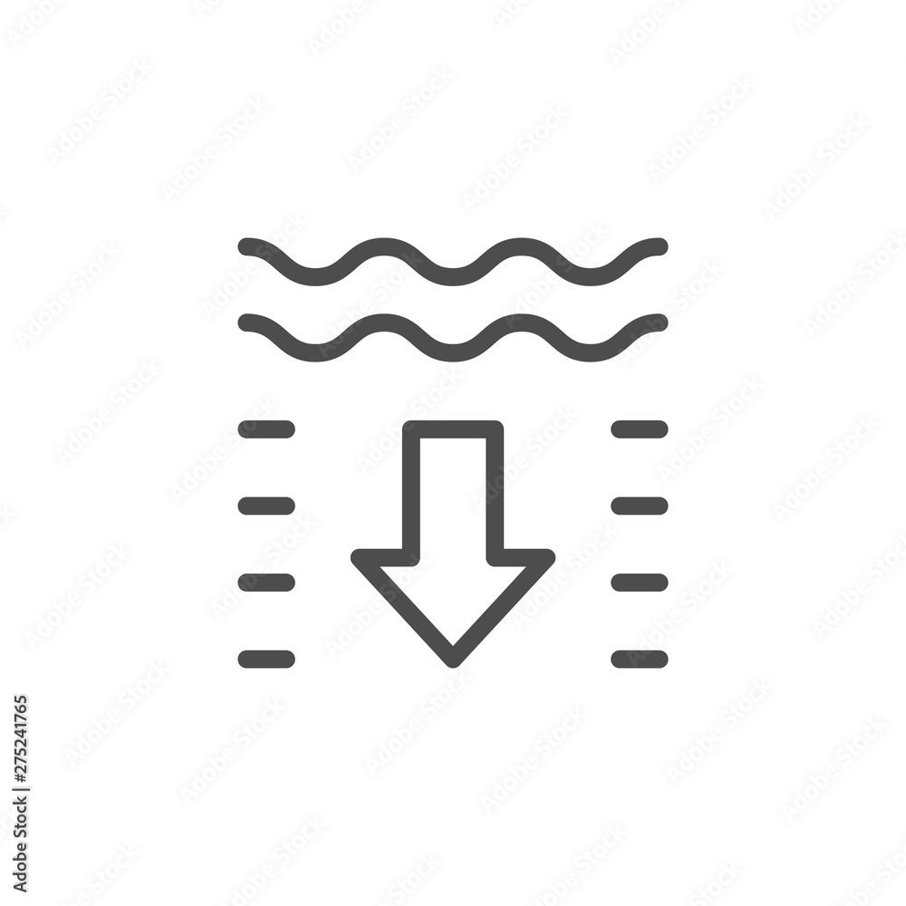 Fototapeta Water depth line outline icon
