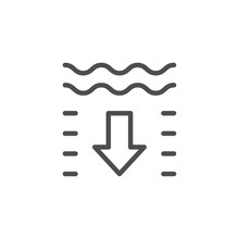 Water Depth Line Outline Icon